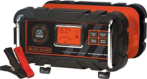 BLACK+DECKER BC15BD Fully Automatic 15 Amp 12V Bench Battery Charger/Maintainer with 40A Engine Start, Alternator Check, Cable Clamps