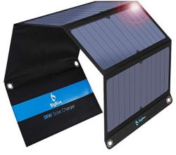Comprar BigBlue 28W Cargador Panel Solar con 3 Puertos (2 USB y 1 USB-C), Placa Solar Impermeables con Type-C