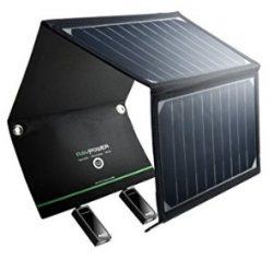 Comprar RAVPower Cargador Panel Solar 16W (Dual USB Puertos, Inteligente IC, A Prueba De Agua, En Acero Inoxidable) Placa Batería Plegable para Móviles, Tablets y Otros Dispositivos